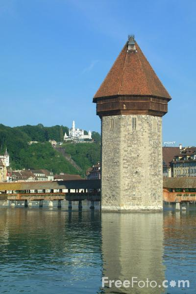 Picture of Chapel Bridge and Water Tower, Lucerne - Free Pictures - FreeFoto.com