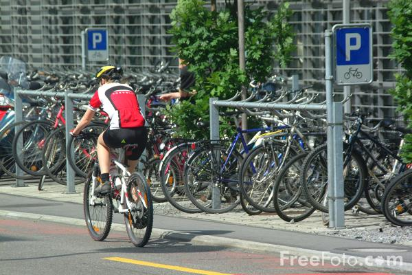 Picture of Cycling to Work, Lucerne, Switzerland - Free Pictures - FreeFoto.com