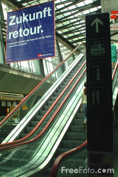 Picture of Escalator, Railway Station, Lucerne, Switzerland - Free Pictures - FreeFoto.com