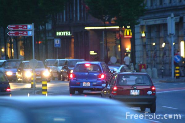 Picture of Night Time Traffic, Lucerne, Switzerland - Free Pictures - FreeFoto.com