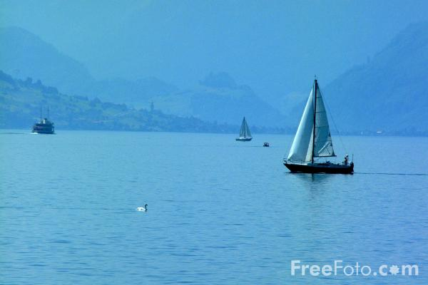 Picture of Yacht, Lake Lucerne, Switzerland / Vierwaldstättersee, Die Schweiz - Free Pictures - FreeFoto.com