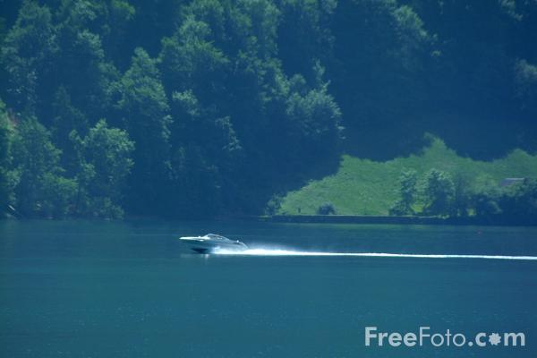 Picture of Speed Boat, Lake Lucerne, Switzerland / Vierwaldstättersee, Die Schweiz - Free Pictures - FreeFoto.com