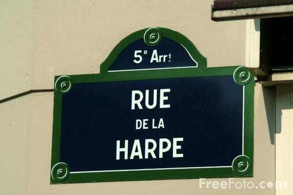 Picture of Rue de la Harpe, Street Sign, Latin Quarter, Paris, France - Free Pictures - FreeFoto.com
