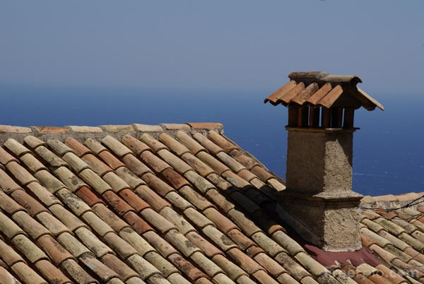 Picture of Chimney and tiled roof, Eze - Free Pictures - FreeFoto.com
