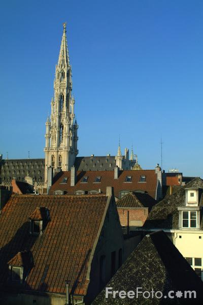 Picture of 96-meter spire, The City Hall, Grand Place, Brussels, Belgium - Free Pictures - FreeFoto.com