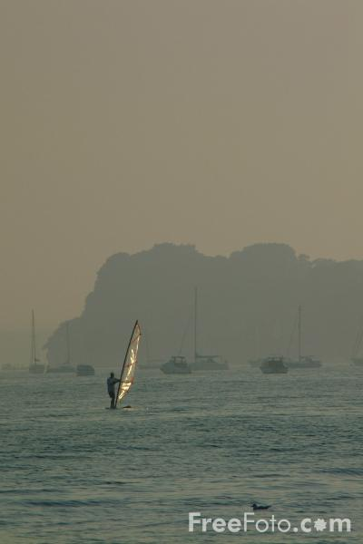 Picture of Windsurfing, Sunset, Poole Harbour - Free Pictures - FreeFoto.com