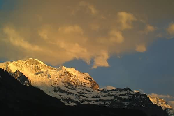 Picture of Sunset over the Jungfrau Mountain Range as seen from Wengen, Berner Oberland, Switzerland - Free Pictures - FreeFoto.com