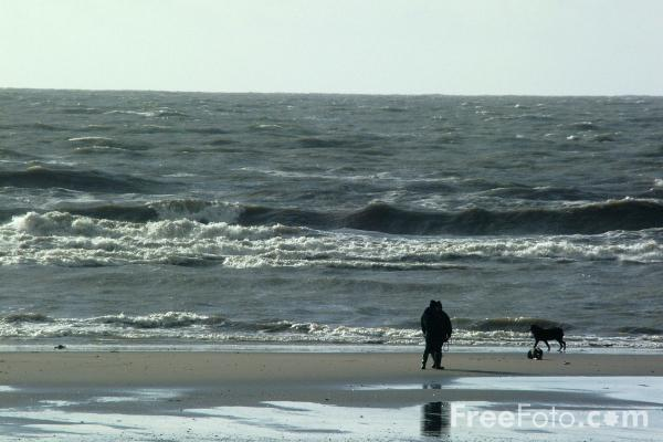 Picture of The Irish Sea as seen from Barmouth Beach, Gwynedd, Wales - Free Pictures - FreeFoto.com