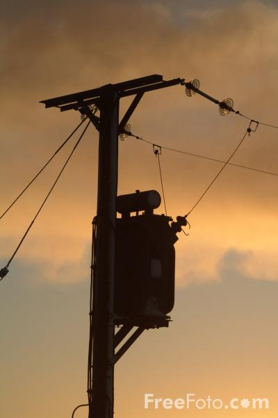 Picture of Power Lines, Sunrise, Northumberland - Free Pictures - FreeFoto.com