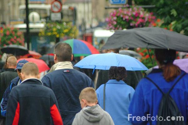 Picture of High Street in the rain - Free Pictures - FreeFoto.com
