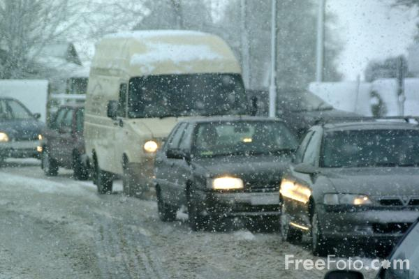 Picture of Traffic Jam in the snow - Free Pictures - FreeFoto.com