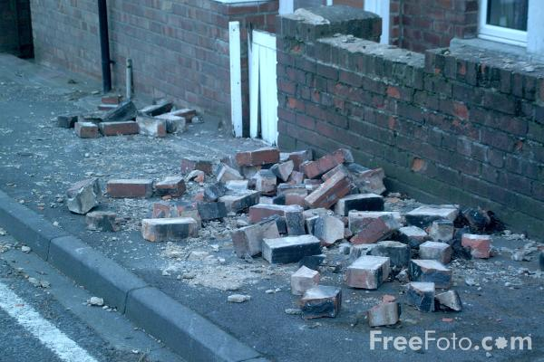 Picture of Chimney stack blown down - Free Pictures - FreeFoto.com