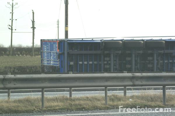 Picture of Lorry blown over in Gales - Free Pictures - FreeFoto.com