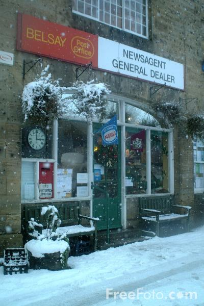 Picture of Belsay Post Office in the Snow - Free Pictures - FreeFoto.com
