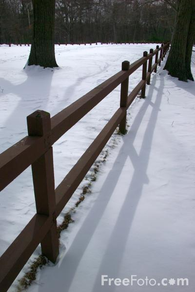Picture of Fence in the Snow - Free Pictures - FreeFoto.com