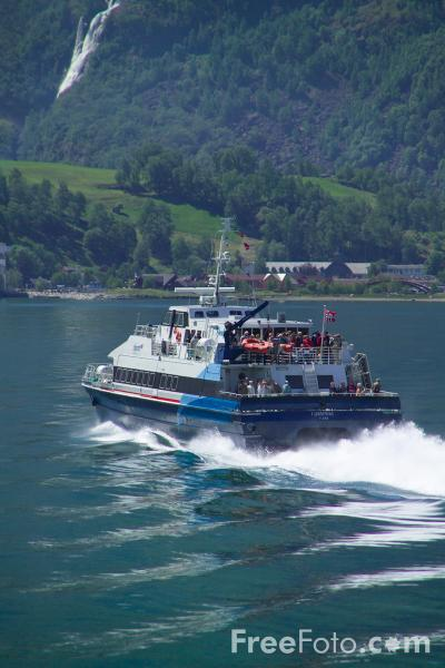 Picture of Fjord1 high speed passenger boat, Aurlandsfjord, Norway - Free Pictures - FreeFoto.com