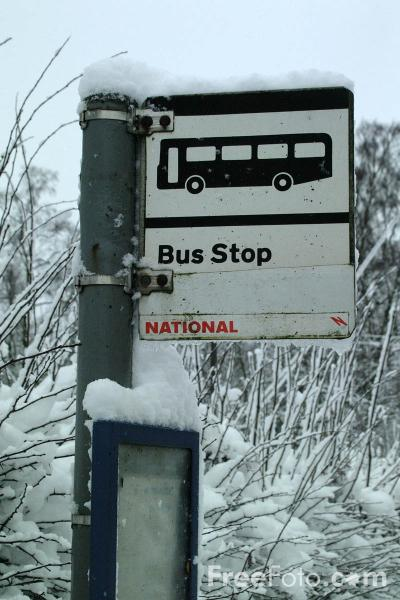 Picture of Bus Stop in the Snow - Free Pictures - FreeFoto.com