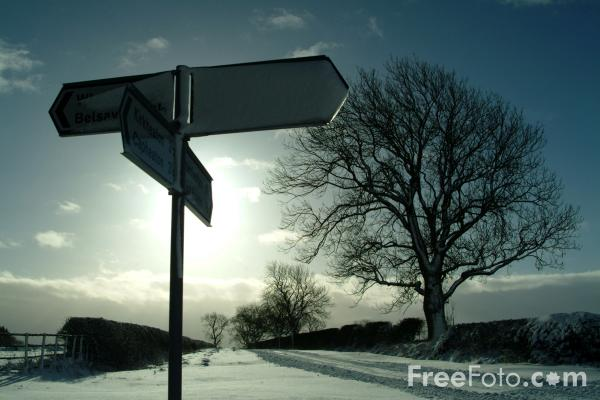 Picture of Road Sign, Winter, Northumberland - Free Pictures - FreeFoto.com