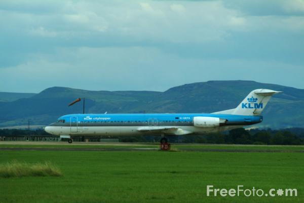 Picture of KLM Cityhopper Fokker F28 Mark 0100 G-UKFA, Teesside International Airport - Free Pictures - FreeFoto.com