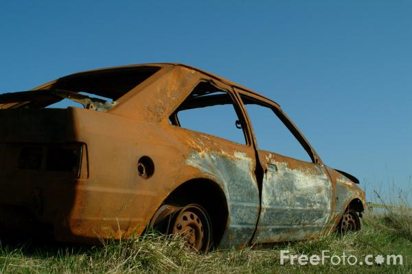 Picture of Rusty Burnt Out Car - Free Pictures - FreeFoto.com