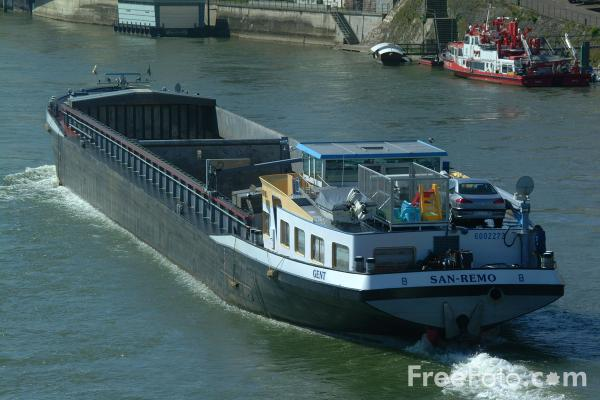 Picture of Inland Barges, River Rhine, Basel, Switzerland - Free Pictures - FreeFoto.com