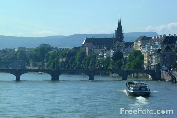 Picture of Barge, River Rhine, Basel, Switzerland - Free Pictures - FreeFoto.com