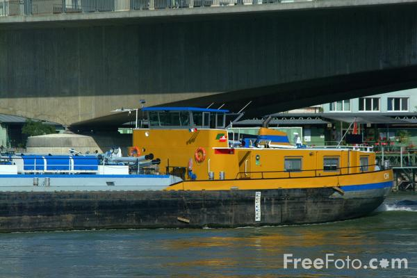 Picture of Barge Piz Boval, River Rhine, Basel, Switzerland - Free Pictures - FreeFoto.com