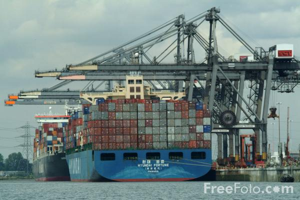 Picture of Hyundai Merchant Marine Vessel Hyundai Fortune, Southampton Container Terminal - Free Pictures - FreeFoto.com