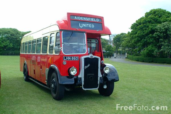 Picture of AycliffeE and District Bus Preservation Society's 1958 ex-United coach as featured in hit television show Heartbeat - Free Pictures - FreeFoto.com