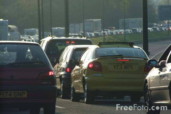 Picture of Traffic Chaos, M4 Motorway, Newport, Gwent - Free Pictures - FreeFoto.com
