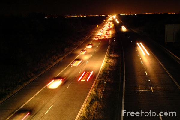 Night Time Traffic Jam, A1M Motorway, County Durham pictures, free ...