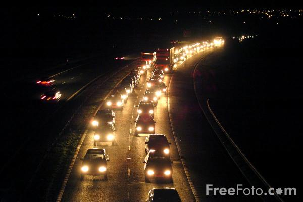 Picture of Night Time Traffic Jam, A1M Motorway, County Durham - Free Pictures - FreeFoto.com