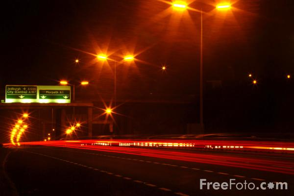 Picture of A1 Western By Pass at night, Westerhope, Newcastle upon Tyne - Free Pictures - FreeFoto.com