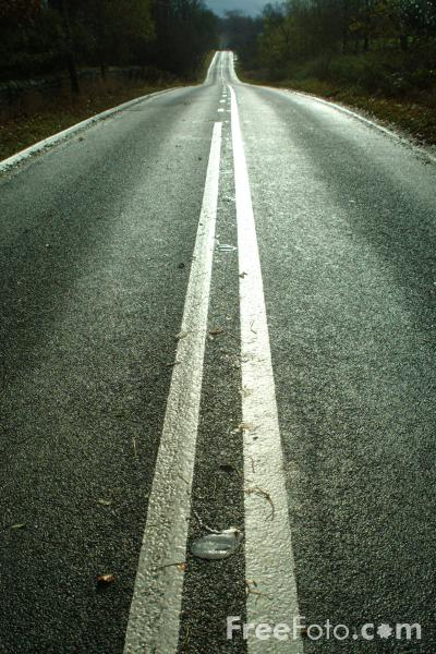 Picture of Straight Road with Double White Lines, A68 Main Road, Northumberland - Free Pictures - FreeFoto.com