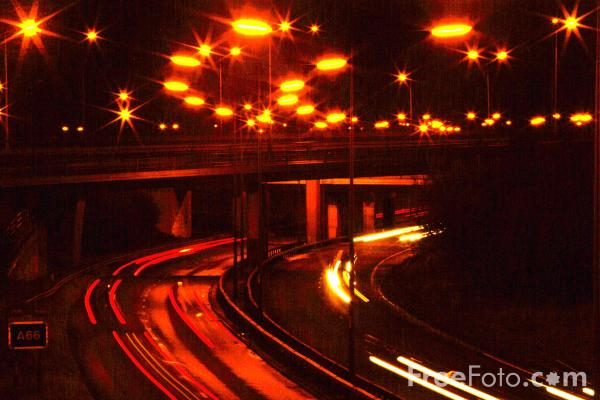 Picture of A19 / A66 junction at night, Middlesbrough - Free Pictures - FreeFoto.com