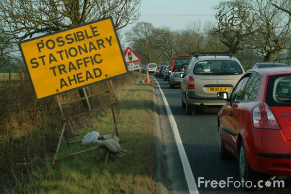 Picture of Possible stationary traffic ahead, A696, Ponteland - Free Pictures - FreeFoto.com