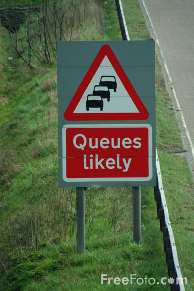Picture of Queues Likely Sign, M6 Motorway - Free Pictures - FreeFoto.com