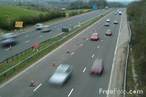 Picture of Roadworks, M6 Motorway, Carnforth, Lancashire - Free Pictures - FreeFoto.com