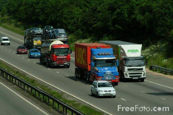 Picture of M1 Motorway near Junction 27 (A608), Nottinghamshire - Free Pictures - FreeFoto.com