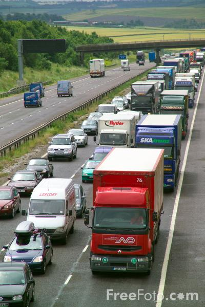 Picture of Traffic Congestion, M1 Motorway - Free Pictures - FreeFoto.com