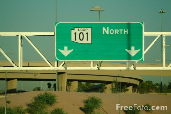 Picture of Road Sign, Interstate 101, Tempe, AZ - Free Pictures - FreeFoto.com