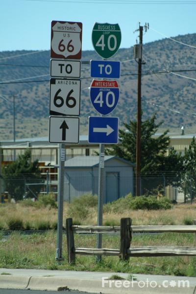 Picture of Route 66 Road Sign , Arizona - Free Pictures - FreeFoto.com