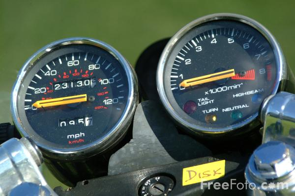 Picture of Speedometer and rev counter, Vintage Motorbike - Free Pictures - FreeFoto.com