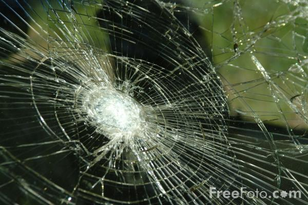 Picture of Smashed Window, Burnt Out Car - Free Pictures - FreeFoto.com