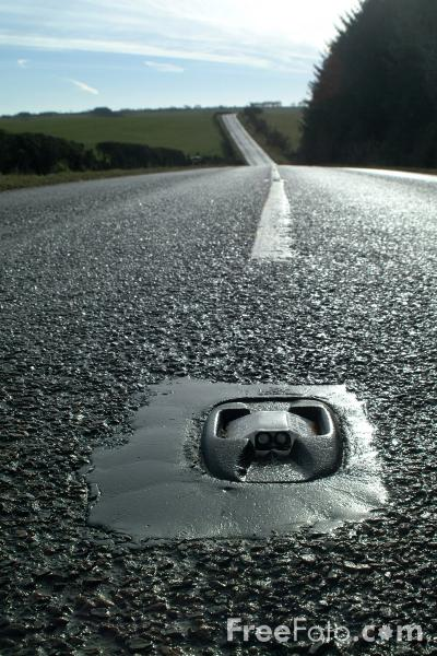 Picture of Cats Eye, Middle of the road - Free Pictures - FreeFoto.com