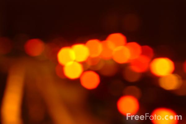 Picture of Red Brake Lights at night - Free Pictures - FreeFoto.com