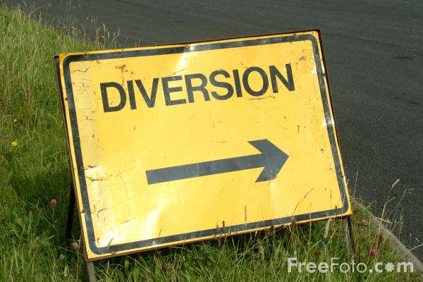 Picture of Road Diversion Sign - Free Pictures - FreeFoto.com