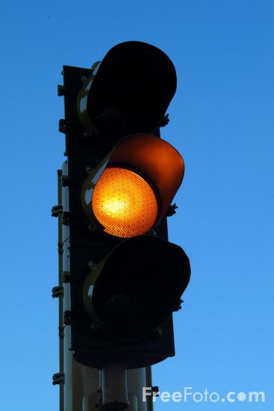 Picture of Amber Traffic Lights - Free Pictures - FreeFoto.com