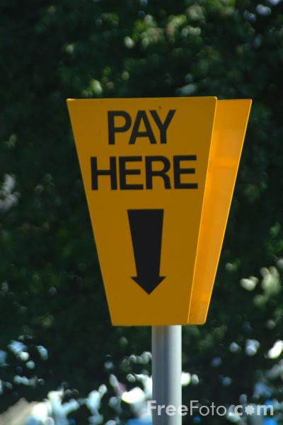 Picture of Pay Here Sign - Free Pictures - FreeFoto.com