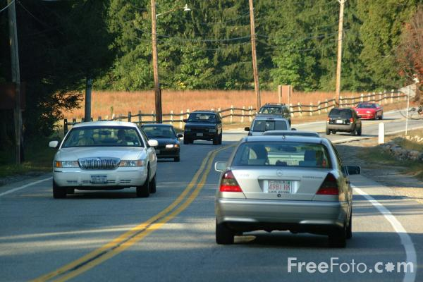 Picture of Automobiles on a single carriageway road in Massachusetts - Free Pictures - FreeFoto.com